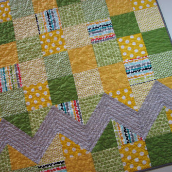 Baby Quilt--Yellow and Green Patchwork, Grey Chevron