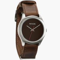 Nixon The Mod Leather Watch Brown One Size For Men 24408140001