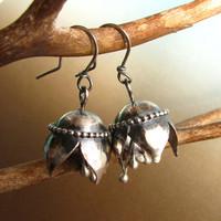 Sterling Silver Musical Bell Flower Earrings - Sterling Silver Bell Earrings - Artisan Jewelry