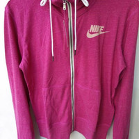 """NIKE"" Leisure Women Hooded Sweatshirt Jacket Rose red"