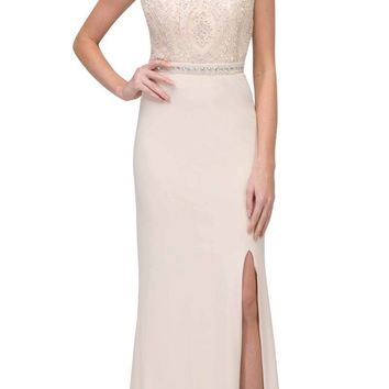 Champagne Long Formal Dress Appliqued Bodice with Slit