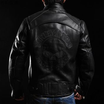 Skulls Men Clothing Short Skull Heads Plus Size 4XL 5XL 6XL Genuine Leather Jacket Man Cow Leather Jacket Man Coat Winter Jacket