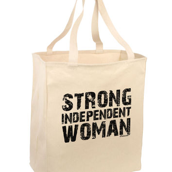 Strong Independent Woman Large Grocery Tote Bag