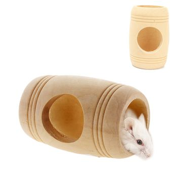 Hot Sale Winter Small Animal Wooden Bed House Cage Molar Wine Cake Shaped Pet Rat Hamster Mouse Wood Toy 11x9cm