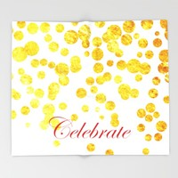 Celebrate | Gold Confetti Throw Blanket by Miss L In Art