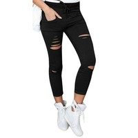 Cotton High Elastic Imitate Solid Skinny Slim Ripped Jeans For Women