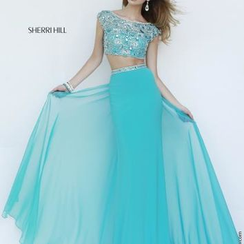 Two Piece Sleeved Sherri Hill Dress 11197