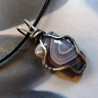 Men's Necklace Botswana agate Sterling silver pendant, wire wrapped necklace,  OOAK jewelry, gift for men, gift for husband, gift for boy
