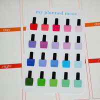 20 Nail Polish Stickers for Planners or Scrapbooking