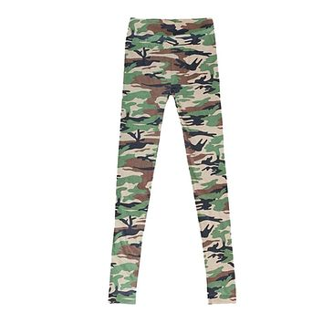 Women Unique Lady Camouflage Trousers Army Pants Stretch Graffiti Style CY0611
