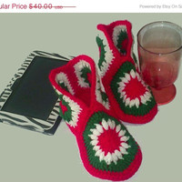 Holiday Special Crochet Green,White, & Red Hexagon Slipper Boots