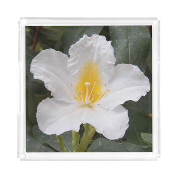 White Flower Photo Serving Tray