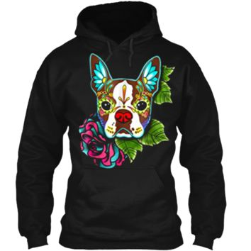 Boston Terrier in Red - Day of the Dead Sugar Skull Dog Pullover Hoodie 8 oz