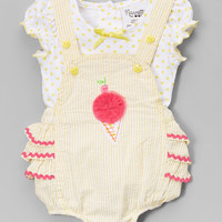 Yellow Polka Dot Tee & Ice Cream Ruffle Overalls - Infant