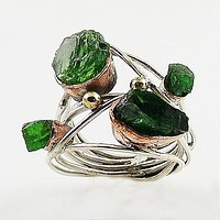 Emerald Rough Sterling Silver Three Tone Collage Ring