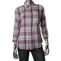 American Living Womens Plaid 3/4 Sleeves Button-Down Top