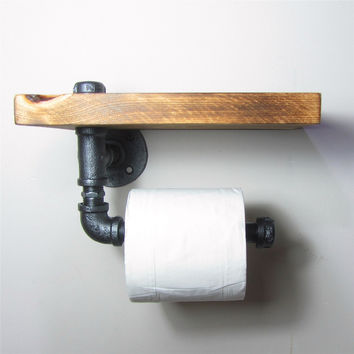 Urban Industrial Style Wall Mount Iron Pipe Toilet Paper Holder Roller W/ Wood Shelf Restaurant Restroom Bathroom Decoration