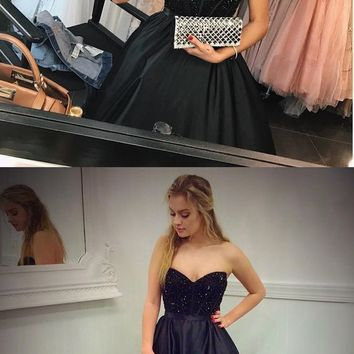 Elegant A Line Prom dress Sweetheart Beaded Long Black Satin Formal Gowns G4794