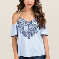 Lia Embroidered Cold Shoulder Poplin Top