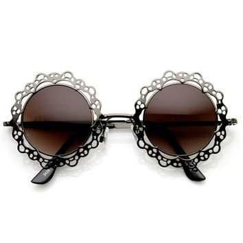 zeroUV - Womens Fashion Metal Cut-Out Lace Circle Round Sunglasses (Gunmetal Lavender)