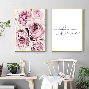 Peony Flowers Nordic Posters Floral Prints Wall Art Canvas Panting Scandinavian Decoration Pictures for Living Room Gift for Her