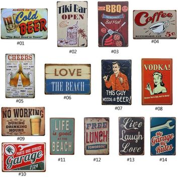 Tin Vintage Wall Decoration Wine / Whiskey / Beer / Cocktail Vintage Home Decor Tin Sign Bar / Pub / Garage