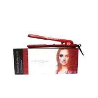 Beyond the Beauty Red Leopard Pro Ceramic Ionic Hair Straightener Dual Voltage 110v-240v + Flat Iron Holder