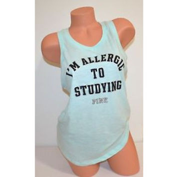 "Victoria's Secret PINK "" I'M ALLERGIC TO STUDYING"" Racerback Tank Top"