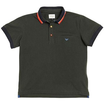 Armani Junior Boys Dark Green Logo Polo Shirt