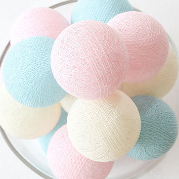 Sweet Pastel Pink Blue Cream 20 Handmade Cotton Ball Patio Party String Lights – Fairy, Wedding, Holiday, Home Décor