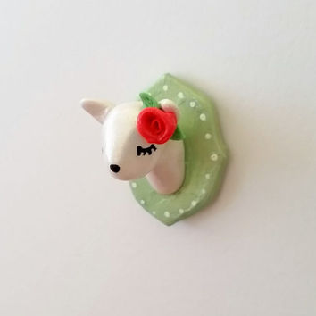 Deer Trophy Head Magnet Brooch Pin - Handmade Faux Taxidermy White Doe with Rose from Polymer Clay