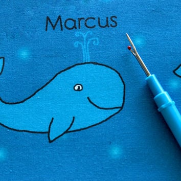 Custom Personalized Whale Fabric with your child's name, in a choice of colors, for nursery decoration, quilts, throw pillows, curtains, etc