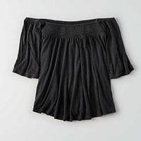 AEO Soft & Sexy Off-The-Shoulder Shirt , Urban Black