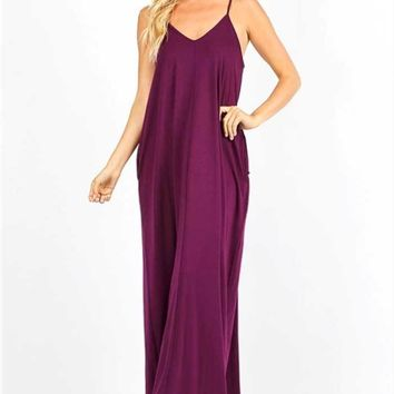 Simple Spaghetti Strap Maxi Dress, Four Colors