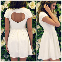 Love Tonic Ivory Heart Back Dress