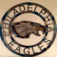 NfL Philadelphia eagles wall art with torched finish, man cave hanging, football, team spirit