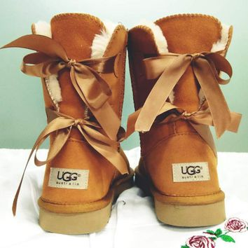 """""""UGG"""" Fashion Casual Winter Women Cute Bowknot Flat Warm Snow Ankle Boots black For Women G"""