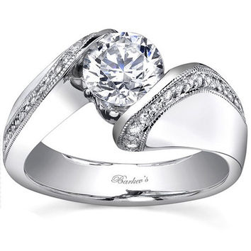Barkev's Bypass Twist Tension Set Diamond Engagement Ring