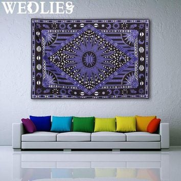 ONETOW 210X145cm Purple Sun Wall Hanging Tapestry Bohemian Throw Blanket Bedspread Dorm Cover Mat Home Room Wall Decoration
