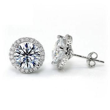 Top Quality 4 Carat Round Cut Simulated Diamond Halo Stud 925 Sterling Silver Earrings