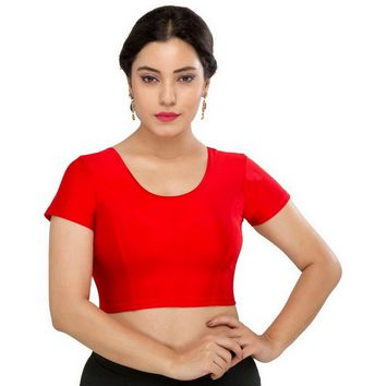 Saris and Things Red Strech Lycra Stretchable Saree Blouse Crop Top A-10-red