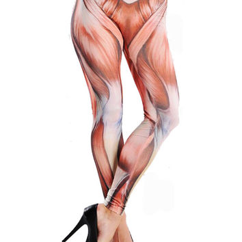 Muscle Print Seamless Faux Denim Tattoo Leggings