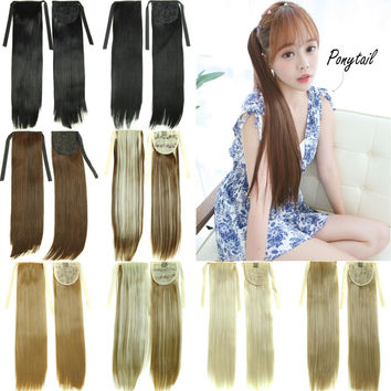 """22""""Long Straight Fake Hair Ponytail Apply Hair Clips Pony Tails Hairpiece Ribbon Ponytails Extensions Synthetic Hair Piece Tress"""