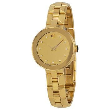 Movado Sapphire Champagne Dial Gold PVD Stainless Steel Ladies Watch 0606816