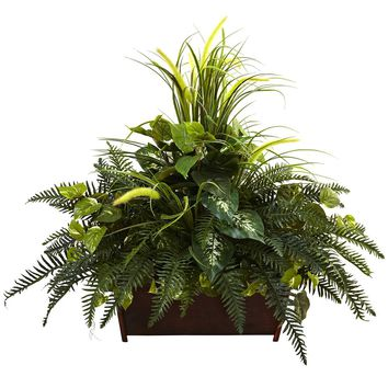 Silk Flowers -Mixed Grass And River Fern With Wood Planter Artificial Plant