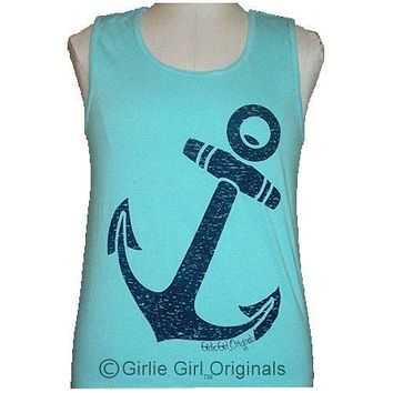 SALE Girlie Girl Originals Vintage Anchor Lagoon Blue Tank Top