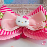 Hello Kitty Pink Candy Stripe Lime Green Polka Dot Ribbon Hair Bow Headband Hairband
