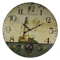 Vintage East Coast Lighthouse Nautical Decor Extra Large Wall Clock - 23-in