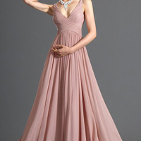 Long Bridesmaid Dress Women Evening Party Ball Prom Gown Formal Cocktail Long Chiffon Dress - Valentine Pink