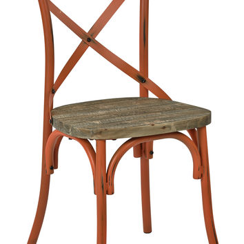 Office Star Somerset X-Back Antique Orange Metal Chair with Hardwood Rustic Walnut Seat Finish [SMR424WAS-AOR]